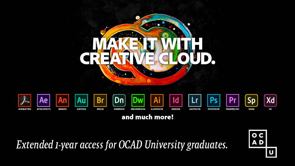 Extended access to Adobe Creative Cloud for one year beyond graduation