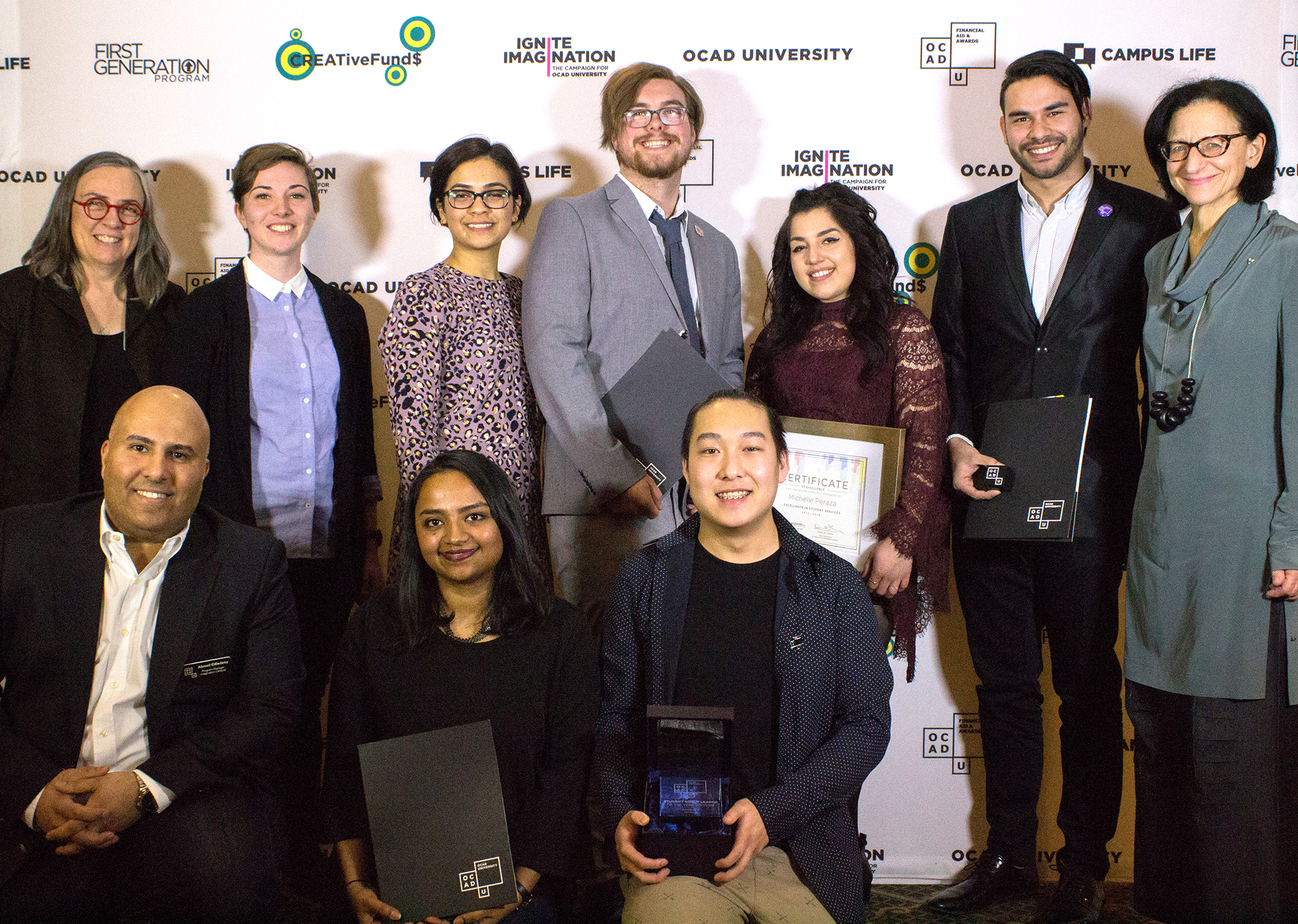 Group photo of student winners with OCAD U staff