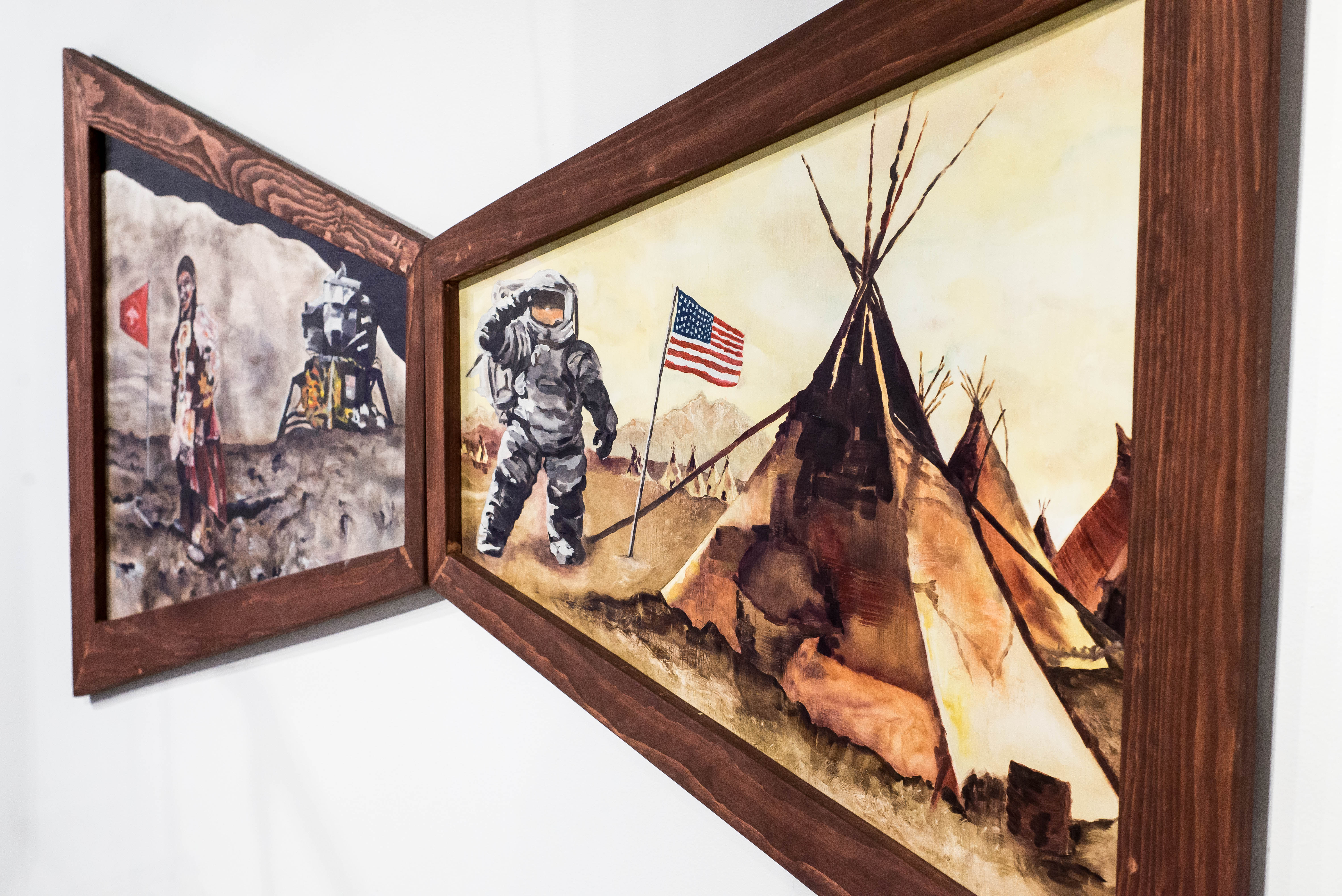 A diptych of paintings representing astronaut and Indigenous person