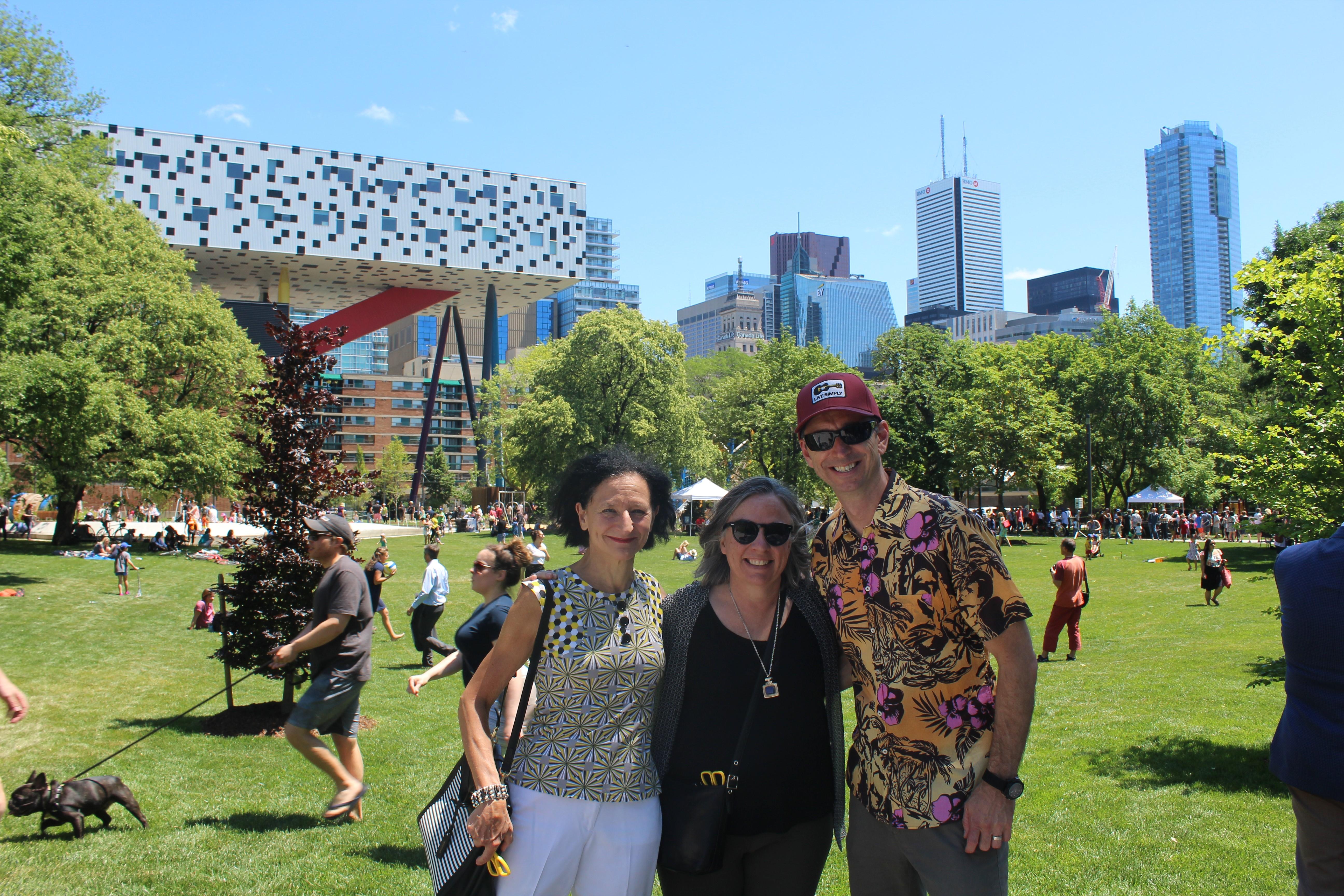 Sara Diamond, Gillian Siddall and Robert Luke in Grange Park with Sharp Centre in the background, photo Adam Wiendels