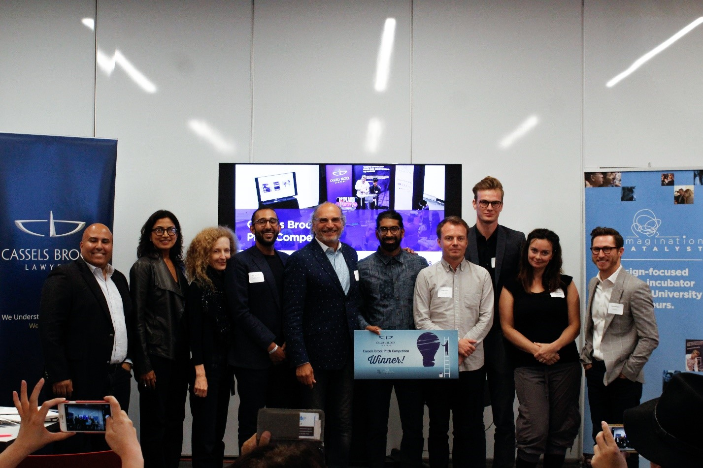 Judges and entrepreneurs at Imagination Catalyst's annual Cassels Brock Pitch Competition. Photo courtesy, Valerie Poon.