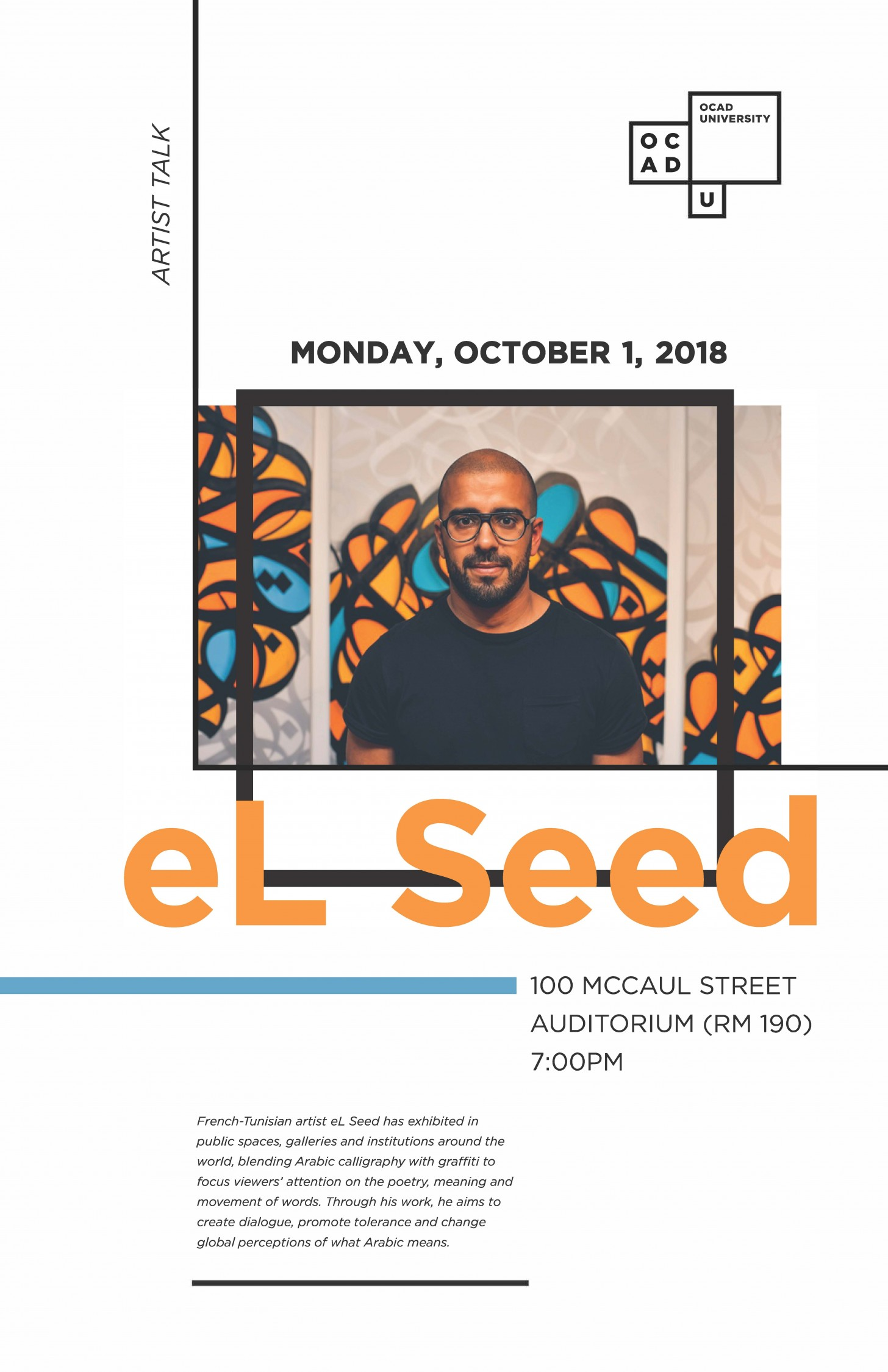 October 1st, Artist Talk by eL Seed