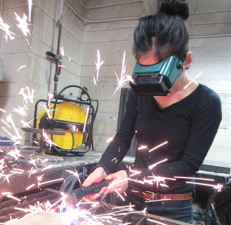 Plasma cutter in the metal fabrication studio. Photo by Justin Merk.
