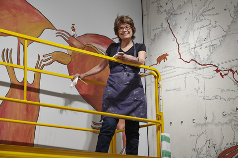 Bonnie Devine with her installation. Image courtesy AGO.
