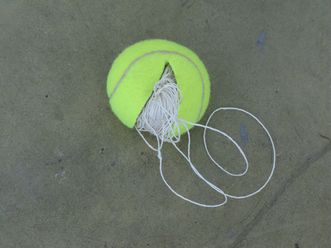 Untitled (Tennis Balls) by Claire Fontaine. Image courtesy Onsite [at] OCAD U.