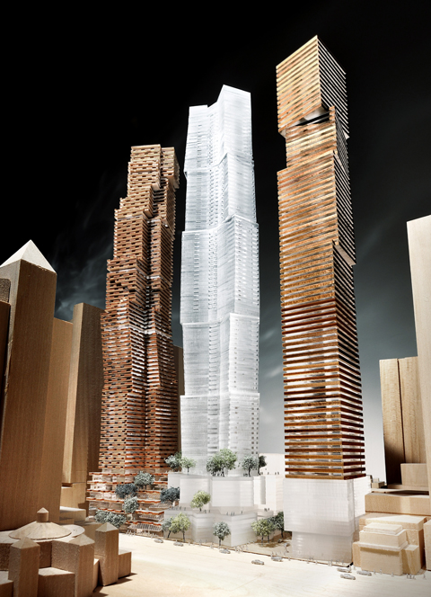 An early model of the three Mirvish+Gehry towers, Courtesy of Gehry International, Inc.