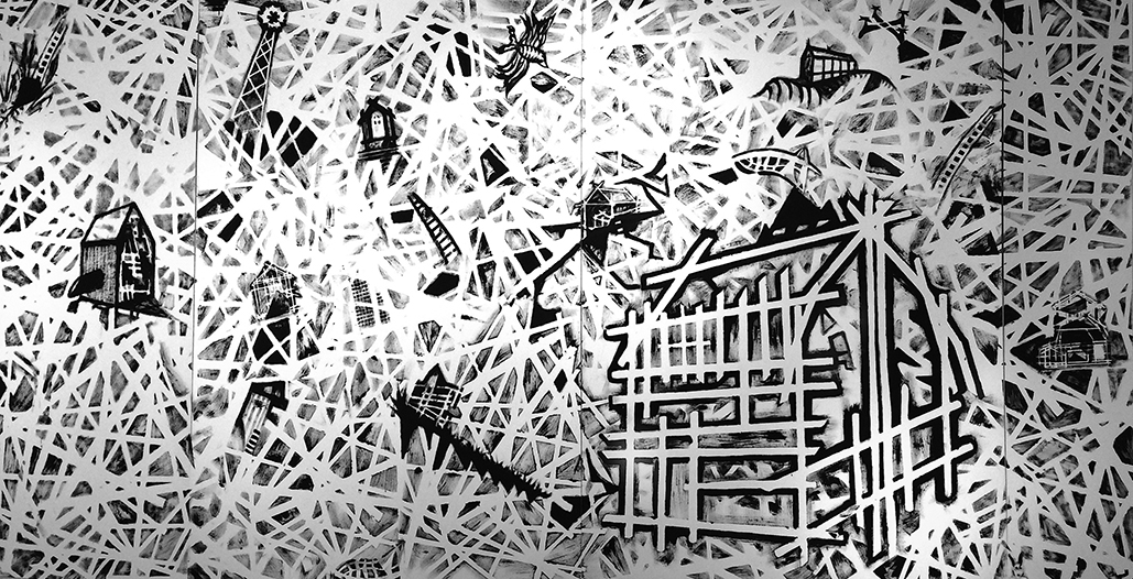 """SCrude"" Artwork by Joseph Muscat. Acrylic on Paper. 2017."