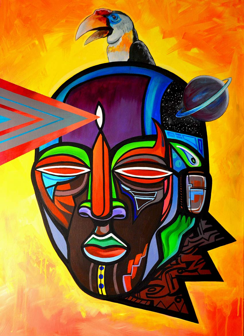 Image of African inspired mask projecting from third eye