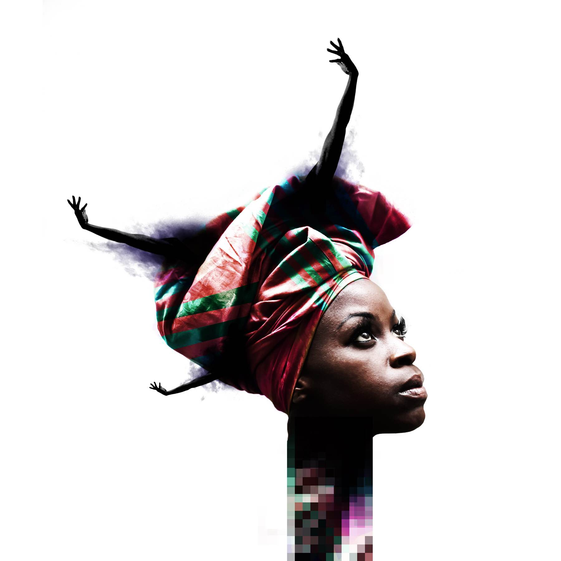 African Woman's head, covered with a scarf that has 3 arms sticking out it