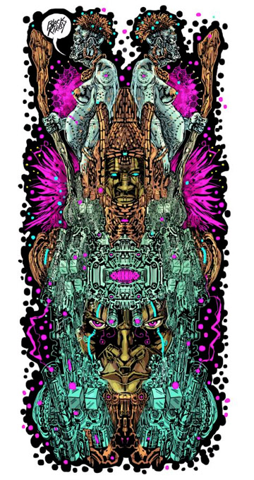 Image of an intricate afro-steam punk totem illustration