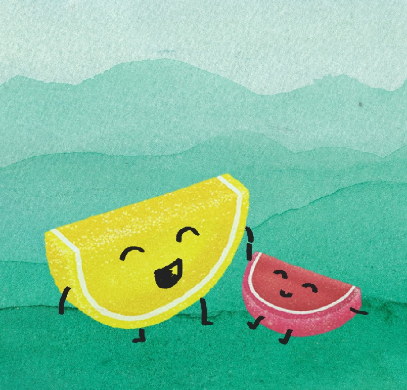 Illustration of two candy fruit slices