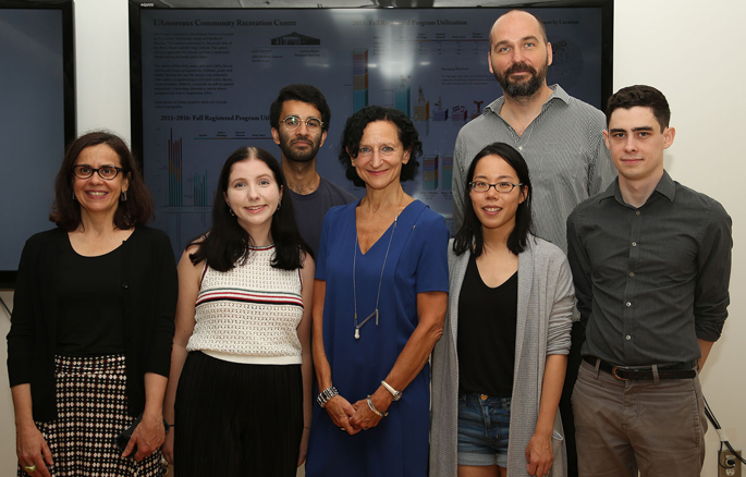 In collaboration with the Mayor's Office and the City of Toronto Parks & Recreation, Isabel Meirelles and Dr. Patricio Davila started analyzing Recreation data with a team of four graphic design undergraduate students. In this photo, taken during the launching event with Mayor John Tory at the Visual Analytics Lab, the team is standing in front of one of the visualizations with Dr. Sara Diamond, President and ViceChancellor of OCAD U. From left to right: Isabel Meirelles, Siena DeBartolo, Shaheer Tarar, Dr. Sara Diamond, Jessica Yao, Dr. Patricio Davila, and Nathan Pilla. (Photo by Martin Iskander)