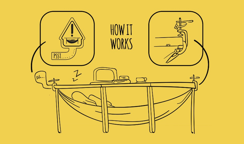 How the Schnap – an under-the-desk hammock - works