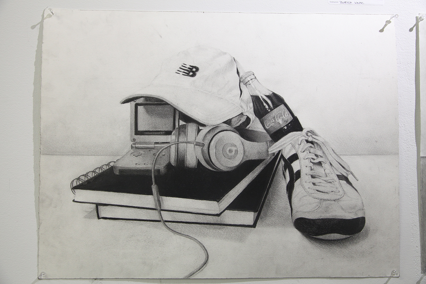 Still life drawing of shoes, books and gadgets. By Franky Lo