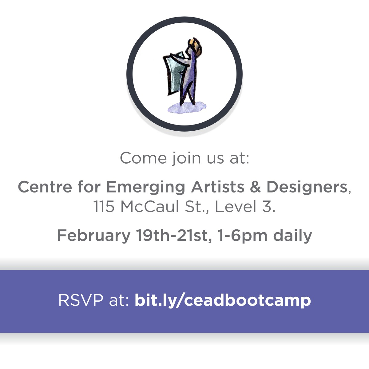 Bootcamp image with circle and person speaking then event info listed