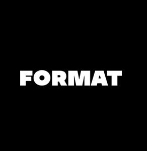 White format logo on black background.