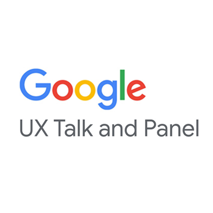 """Google logo in middle with grey text """"UX Talk and Panel"""""""