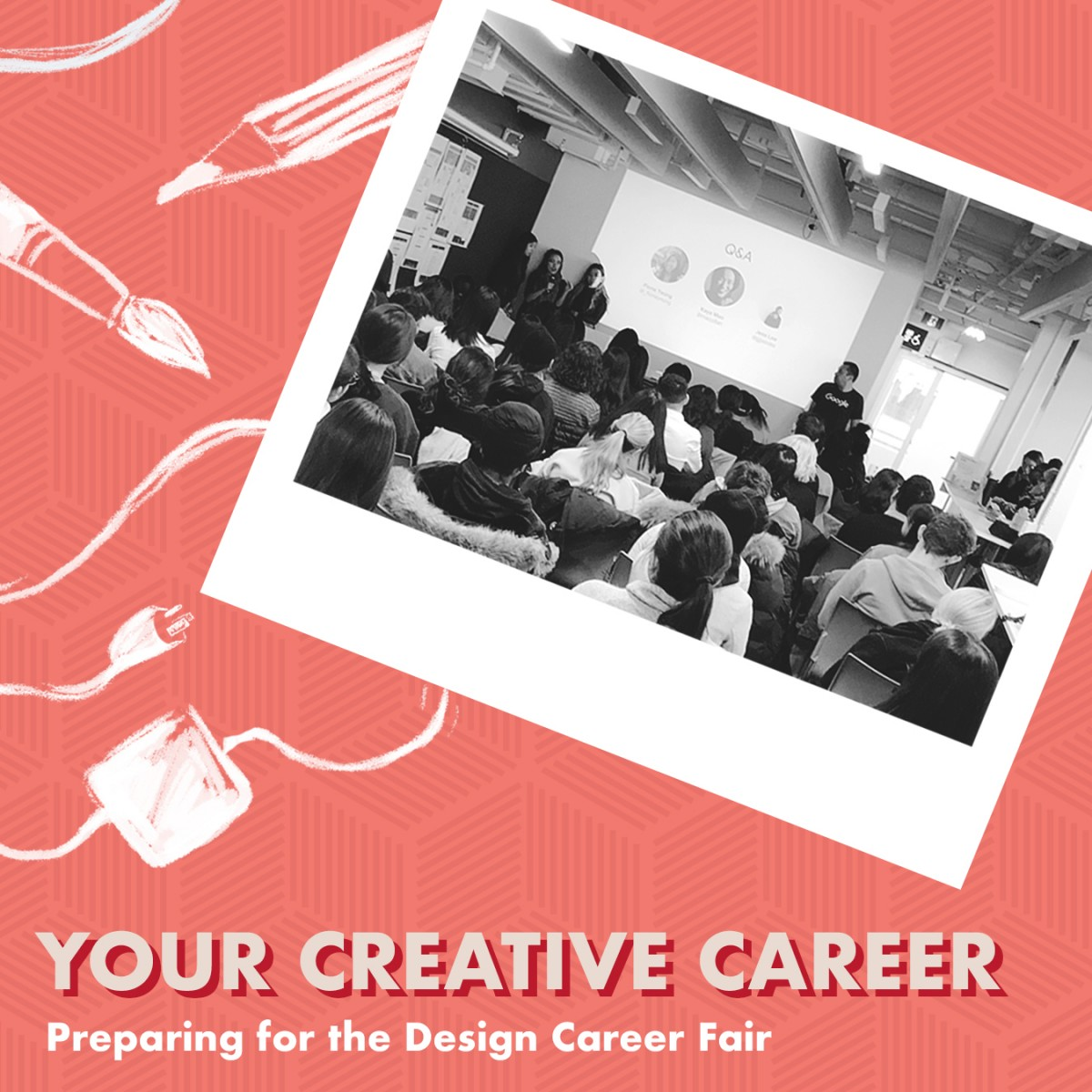 graphic banner in redish pink. Right side black and white photo of students in lecture. Right text Your Creative Caree