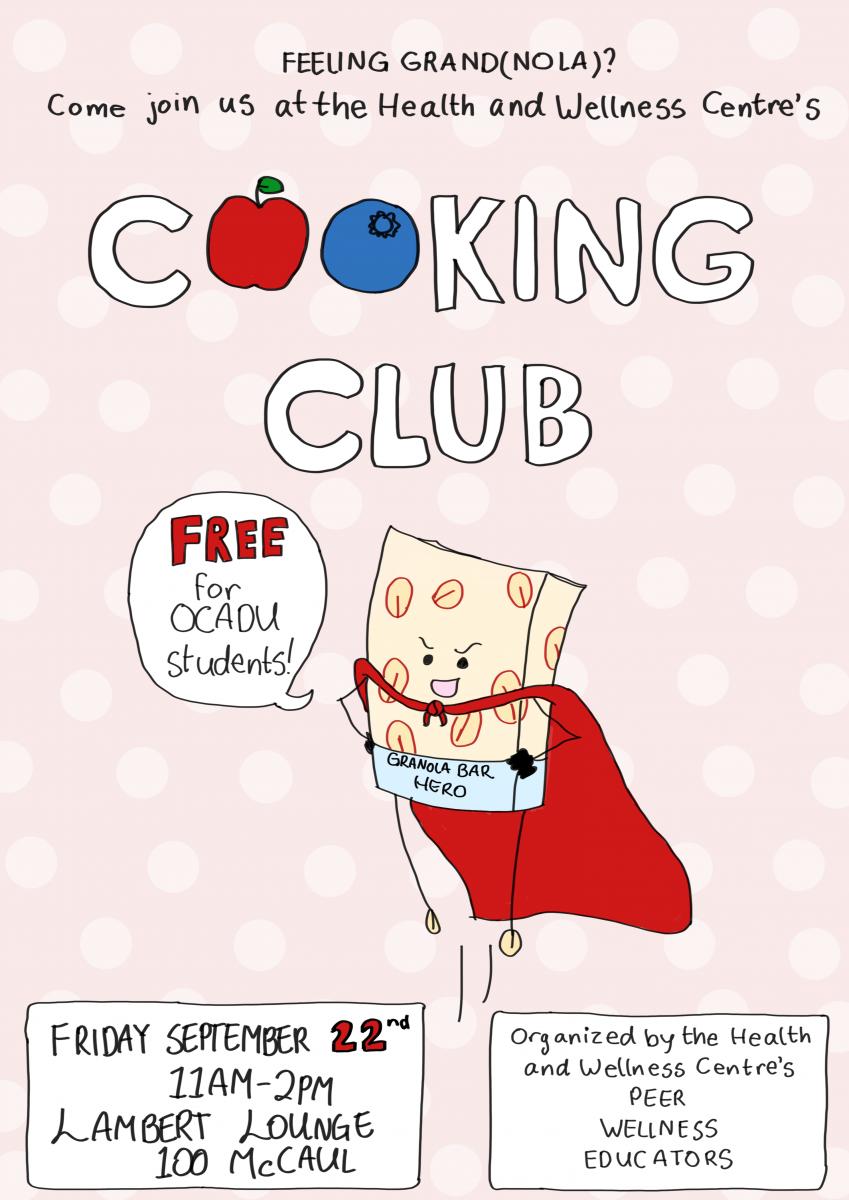 Cooking Club, Sept 22, 11-2, Lambert Lounge