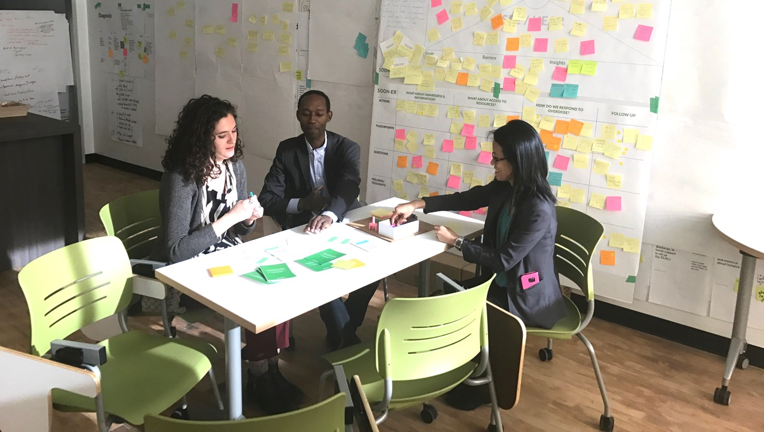 Photograph of four participants engaging in design process and conversation, seated at a table