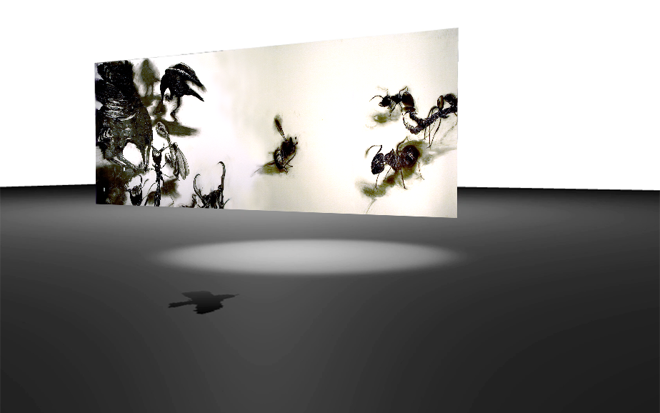 "Screen capture from ""One for Sorrow"" environment. Black ground with ethereal charcoal black forms."