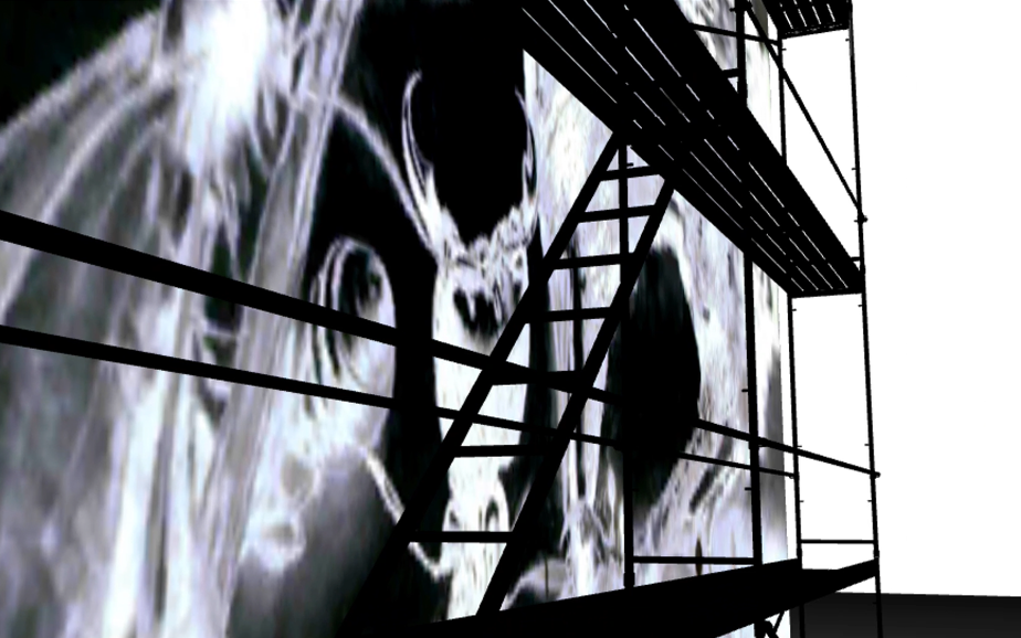 "Screen capture from ""One for Sorrow"" environment. Black ground with ethereal charcoal black forms and black scaffolding."