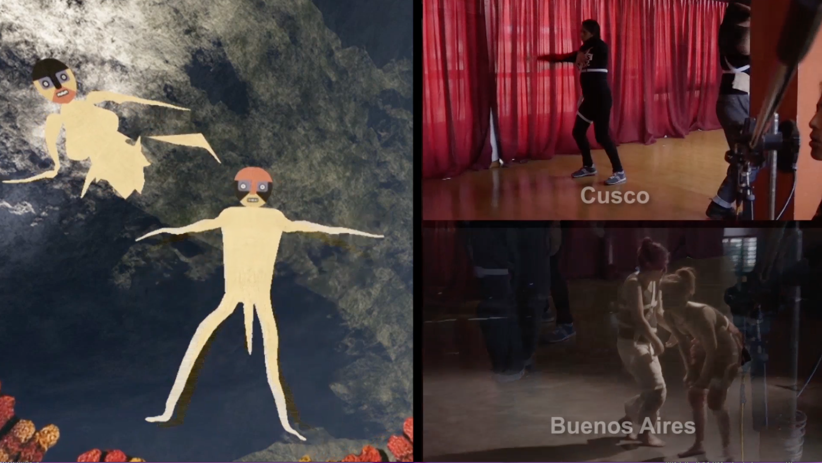 Split screen photo of dancers performing while their in-game characters move