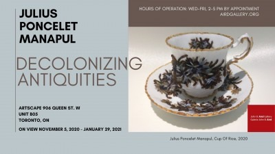 A poster for the event featuring a teacup decorated with grains of rice.