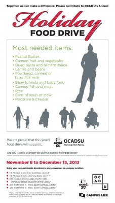 Annual OCAD U Holiday Food Drive