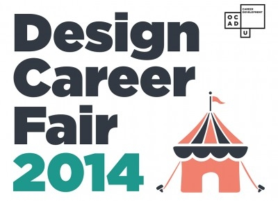 Design Career Fair 2014 Poster, featuring a 2d drawing of a circus tent