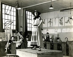 Black and white photograph of an art model in a studio