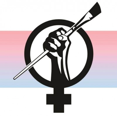 Logo with female symbol and hand holding a paint brush