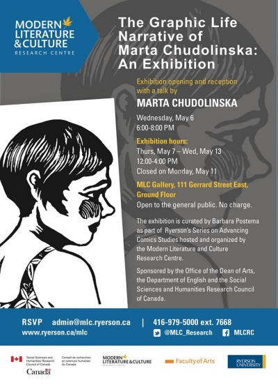 Exhibition poster with woodcut of woman's head on left side. Right side contains exhibition information on this webpage.