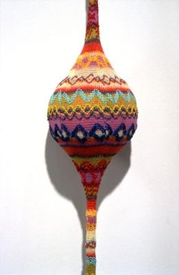 """Lyn Carter, Knit 1 (detail), 2003, fabric, fabricated & found objects,  H 57"""" x W 8.5"""" x D 5.7"""""""