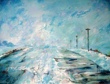 "Whiteout, by Brynley Longman, oil paint, canvas, 48"" L x 60"" W, 2007"