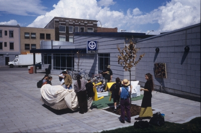 gathering of people outside a building