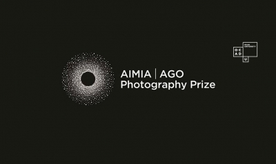 AIMA AGO photography prize logo, white letters on black background