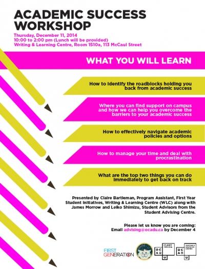 Academic Success Workshop Poster