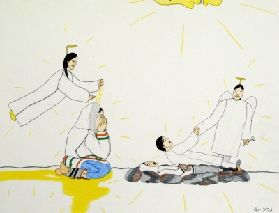 Annie Pootoogook, Crying Over a Death, 2002/2003
