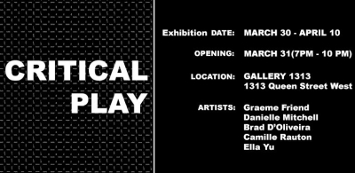 Critical Play poster text  on black background