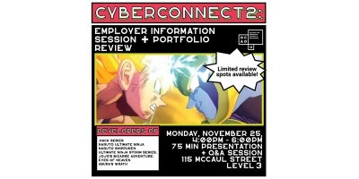 Cyberconnect2 text at hope. Image of two Dragonball Z characters and event details on bottom