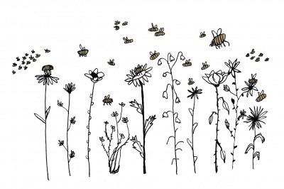 Illustration of flowers wth pollinators buzzing around