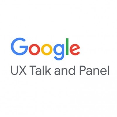 Google logo with UX Talk & Panel text in grey