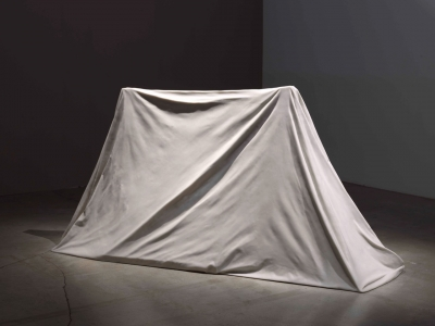 Photograph of a tent sculpted out of marble
