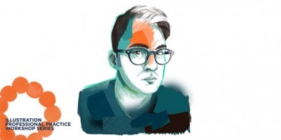 illustration of Darren Booth with orange circle for Illustration workshop