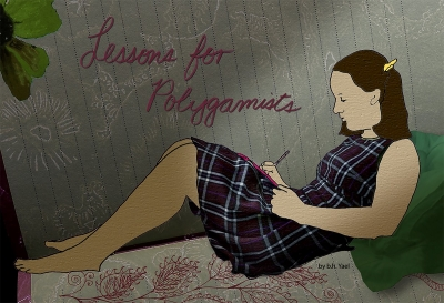 illustration of young woman writing