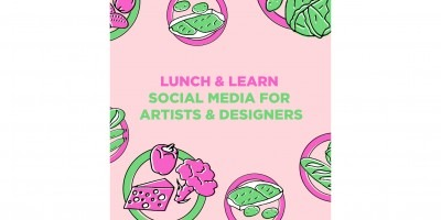 Text featuring event details with illustration of circles framing food in pink, green and light pink