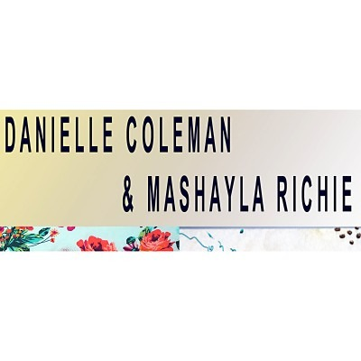 Danielle Coleman and Mashayla Richie with a floral border.