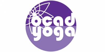 Purple logo with white text