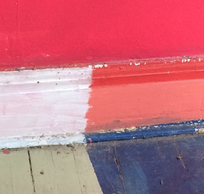 photo of bright paint colours on baseboard trim
